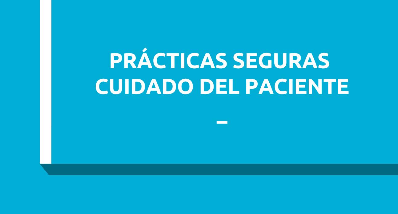 MANEJO DE LOS EFECTOS ADVERSOS Y PRÁCTICAS SEGURAS EN EL CUIDADO DEL PACIENTE (SG)